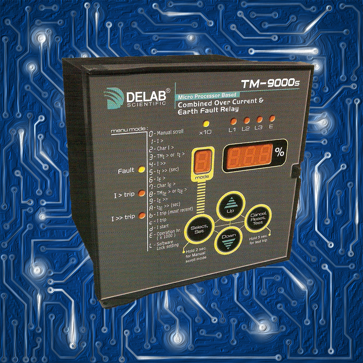 Delab Scientific Earth Protection Relay Digital Microprocessors Current Based Combined Over And Fault Tm 9000s